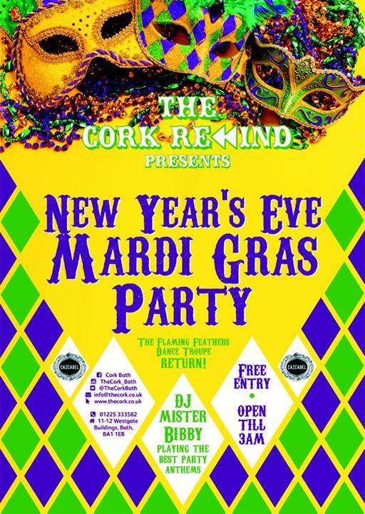 new year 39 s eve mardi gras the cork. Black Bedroom Furniture Sets. Home Design Ideas